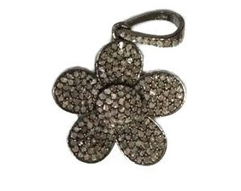 Genuine Pave Diamond Small Flower Pendant in Sterling Silver