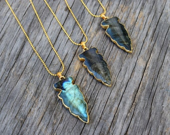 Labradorite Stone Arrowhead Necklace, Labradorite Arrow Pendant, Ghost Flash Labradorite Stone Arrow Head Necklace, Polished Stone Arrow