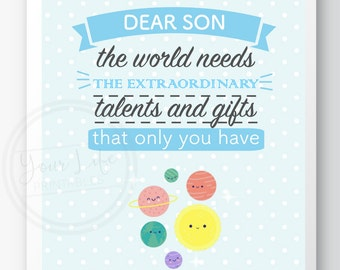 Nursery kids wall art print decor, Cute Design, Dear Son The World Needs your Talents and Gifts Quote, Baby Shower gift, decoration quote