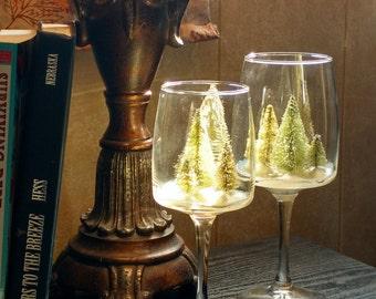 Wine Glass Winter Scene