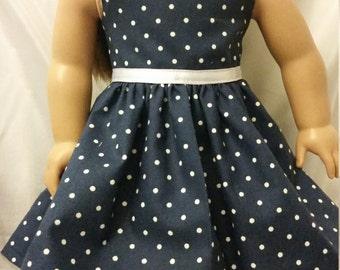 "Blue and White polka dot dress for 18"" doll"