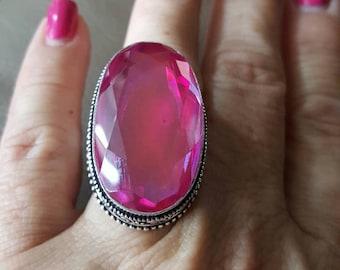 Pink Mystic Quartz Ring- size 10.25!