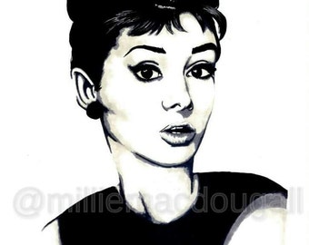 A3 Audrey Hepburn Minimalist Portrait Art Prints on Gloss Paper