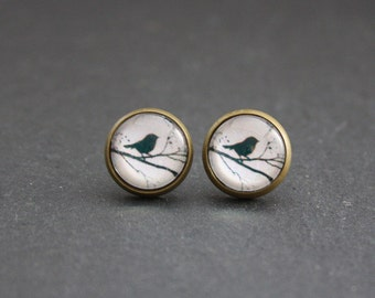 "Cabochon earrings ""Birds on branch"" 12 mm"