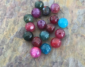 Full Strand of Natural Agate Faceted Round Beads 6mm