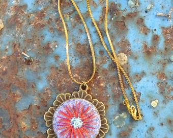 flower felt pendant, felt necklace, Boho Jewelry, Hippy jewelry, Original NECKLACE, Wool flower, Bohemian necklace, Flower jewelry