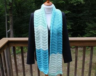 Wavy Ripple Scarf, Crochet Scarf, Multicolor Scarf, Wide Crochet Scarf