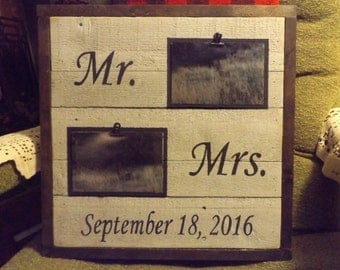 Rustic Wood Photo Display. Mr and Mrs Photo Display. Picture Frame. Wood Picture Display. Picture Frame. Wood Picture Holder. Photo Sign.