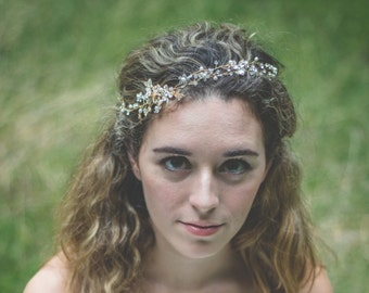 Ethereal Crystal Bridal Tiara, Wedding Headpiece, Flower Headband, Bridal Head Piece, Wedding Headpiece, Hair Accessory, Wedding Accessories