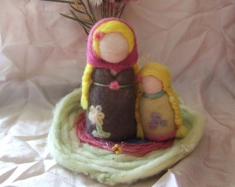 Needle felted Mother and Daughter Waldorf Steiner Fibre Art Dolls