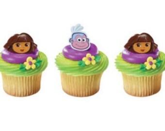Dora & Boots cupcake rings - 1 dozen