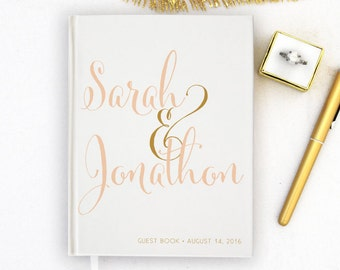 Wedding Guest Book Personalized Gold Guest Books Custom Guestbook Modern Wedding Script Wedding - white