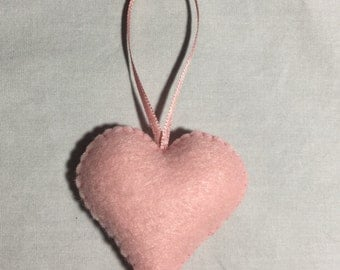 Felt Heart Ornament (light pink)