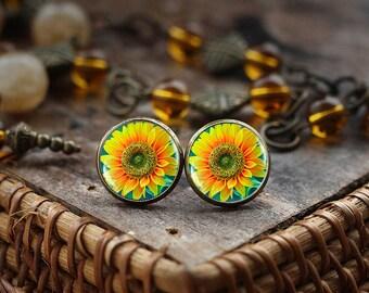 Sunflower stud earrings, Botanical Jewelry, Flower earrings, Sunflower jewelry flower earrings, sunshine earrings, Sunflower post earrings