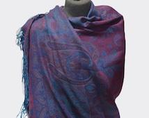 Elegant Shades Of Blue Pashmina Scarf Women Warm Scarf Cozy Shawl Long Scarf Blue Scarf Winter Scarf Fashion Accessories Winter Scarf Women