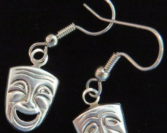 A Comedy & A Tragedy Theater Masks Earrings Actor Oxidized Matte Silver Acting Theatrical Drama Mask Actress ES137