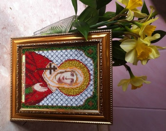 Beads Embroided Icon St. Galina