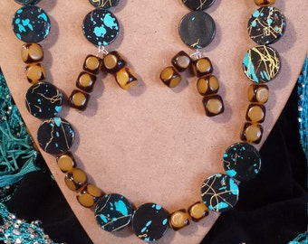 Yellow and Turquoise Necklace and Earrings