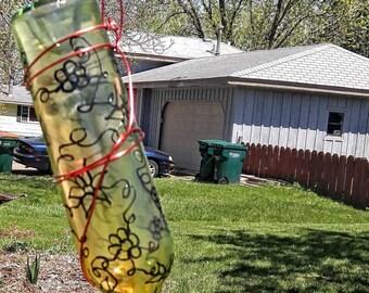 Hummingbird Feeder with hand painted Flowers, Wine Bottle Hummingbird Feeder, Orange Hummingbird Feeder, Garden Decor, Garden Accessories