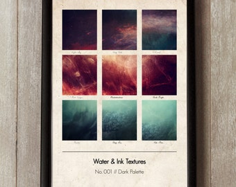 Water and Ink Graphic Design Print, Vintage texture, Dark Palette, Watercolor Wall Art, Gift Ideas, Interiors,  Wall Art, Pantone