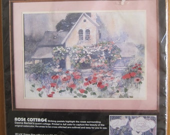 "KIT, No Count Cross Stitch, ""Rose Cottage"", Dimensions, 1987, Vintage"