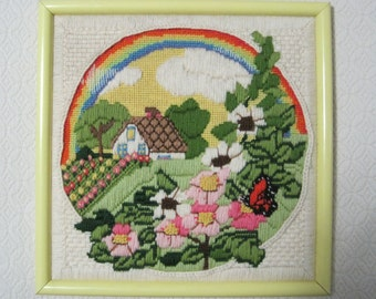 Country Cottage Crewel Embroidery, Framed Wall Hanging, Vintage