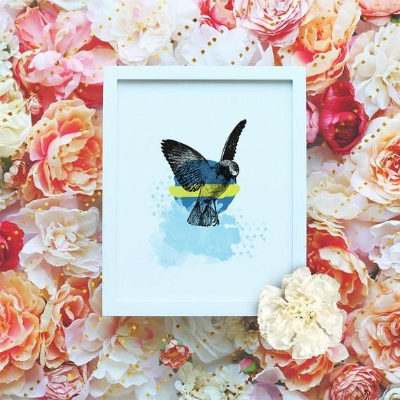 Bird Nature printable poster, Nursery Printable Wall Art, Animal Printable, Modern Wall Art, Minimalist Watercolor Print DIGITAL FILE