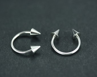 Horseshoe ring septum, Septum ring, Septum piercing, Nose loop, Septum with spike, Gothic jewelry, Nose, Eyebrow, Lips Nipple Surgical steel