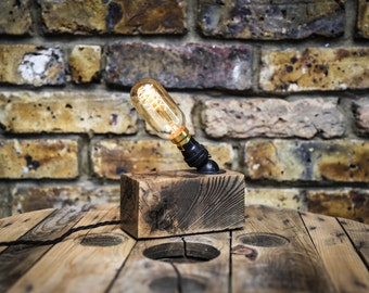 Reclaimed timber table lamp by MooBoo Home MB002