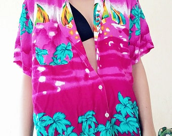 Vintage Pink Hawaiian Button Up