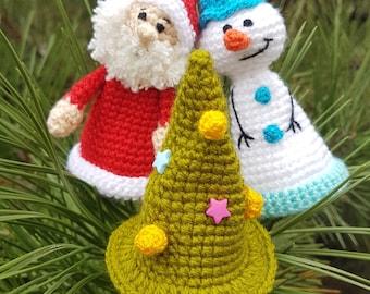 Christmas wine bottle topper bottle accessories Crochet Santa Claus Snowman tree christmas ornament Christmas decor wine gift bottle hat