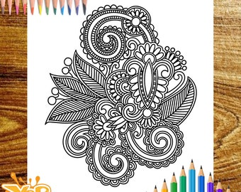 Adult Printable Coloring Page Paisley Pattern Zentangle Book Instant PDF Download