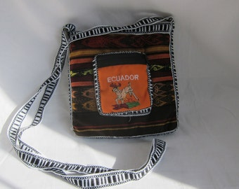 Made in Ecuador Otavaleña Hand Woven multi color purse, messenger bag, shoulder bag.