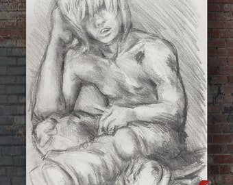 Ted the skater dude original drawing on 12 x 18 inch graphite on newsprint