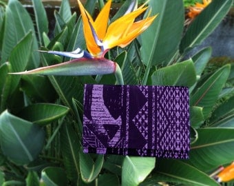 Purple and Black Hawaiian Tribal Print Envelope Clutch Purse with Black Lining