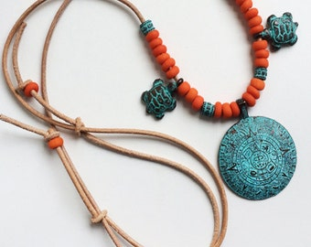 Surfer Style INKA SOLAR DISC Patina necklace with leather strap