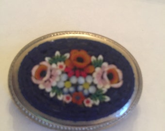 Italian Micro Mosiac Vintage Brooch