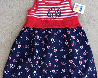 Monogram Dress, Personalized Dress, Summer Dress, July 4th, Sleeveless dress, July 4th Dress