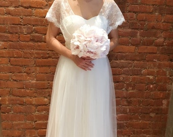 Boho Cap Sleeve Pearl Belt Wedding Dress