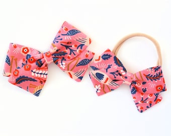 Rifle Paper & Co. / Les Fleurs / Tapestry-Rose / Fabric Bow / Newborn Bows / Toddler Bows / Handtied Bows