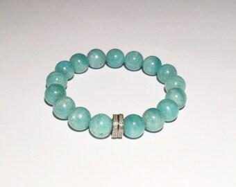 Amazonite healing bracelet with 0.44 carat diamond