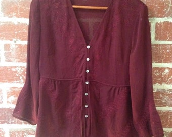 Maroon see-through vintage shirt