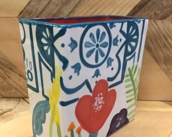 Floral Patterned Rectangle Vase// Pen holder//Toothbrush holder//Multi-use holder