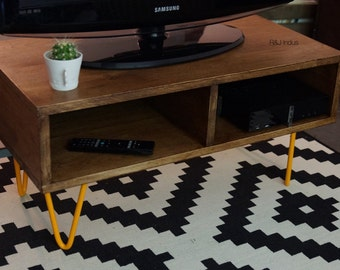 Furniture solid oak TV and feet pins steel.