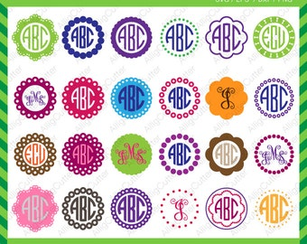 Circle Dot Scallop Monogram Frames SVG DXF PNG eps Cut Files for Cricut Design, Silhouette studio, Sure Cuts A Lot, Makes the Cut and more