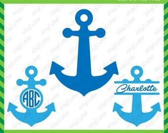 Anchor Monogram Split Frame SVG DXF PNG eps Nautical Cut Files for Cricut Design, Silhouette studio, Sure Cuts A Lot, Makes the Cut