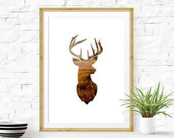 Stag Head Print 8x10 - 24x36 inc, Deer Print, Deer Antler Decor, Cloud Photography, Deer Art, Instant Download Printable Art, Animal Art