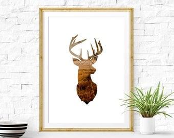Stag Head Print 8x10 - 24x36 inc, Deer Print, Deer Antler Decor, Cloud Photography, Deer Art, Instant Download Printable Art, Animal Art
