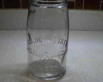 2 quart Golden-State Mason Canning Jar Patent 1910, Ben Schloss, no lid