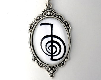 CHO KU REI Reiki Symbol, 2-sided Pendant with Reiki Principles on back, Reiki Power Symbol Pendant, includes Instruction Booklet